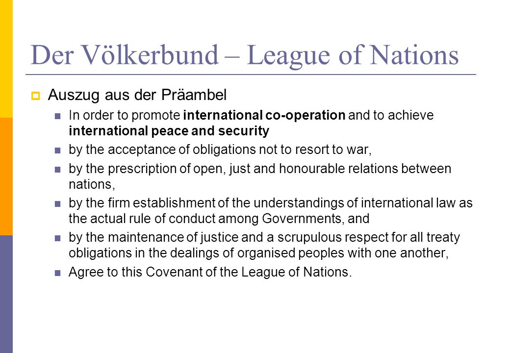 Der Völkerbund – League of Nations