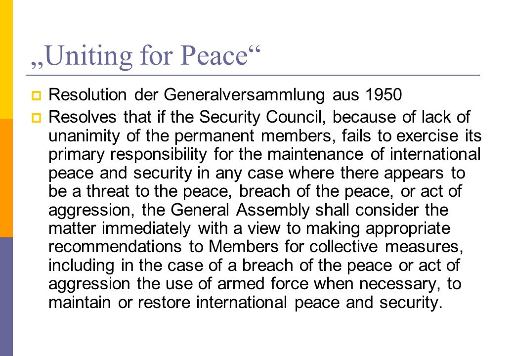 """Uniting for Peace Resolution der Generalversammlung aus 1950"