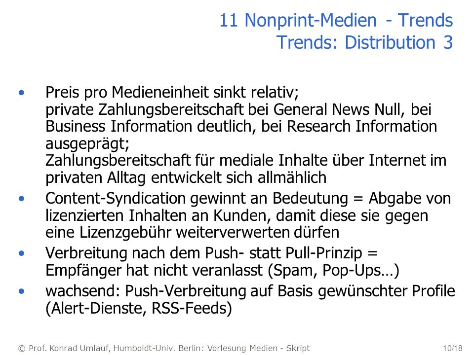 11 Nonprint-Medien - Trends Trends: Distribution 3