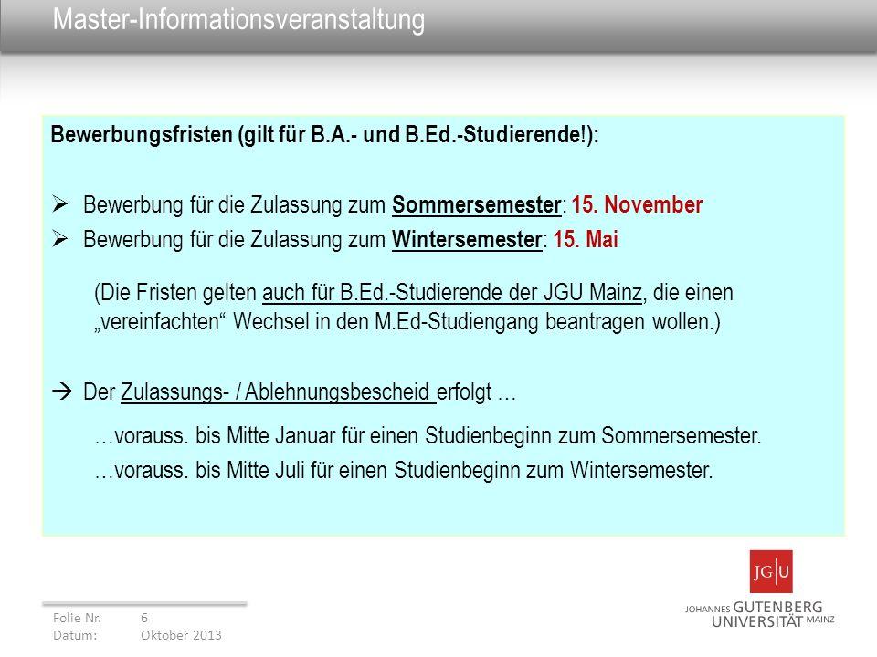 6 master informationsveranstaltung - Uni Mainz Bewerbung