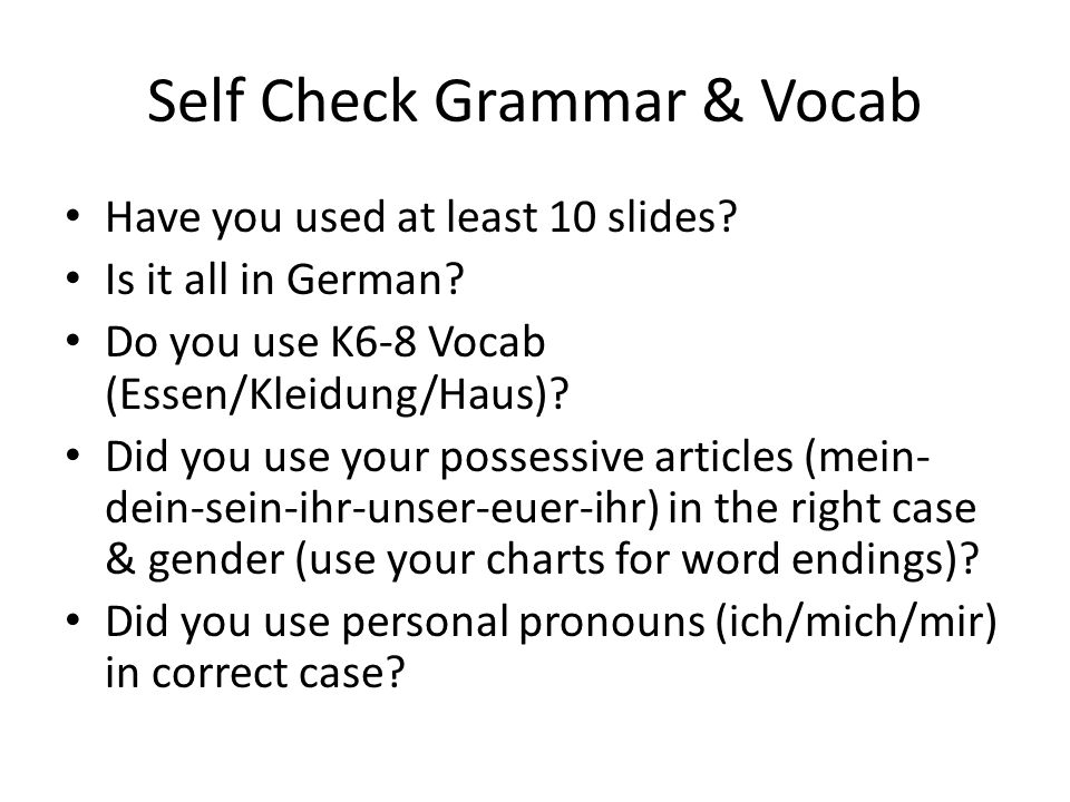 Self Check Grammar & Vocab