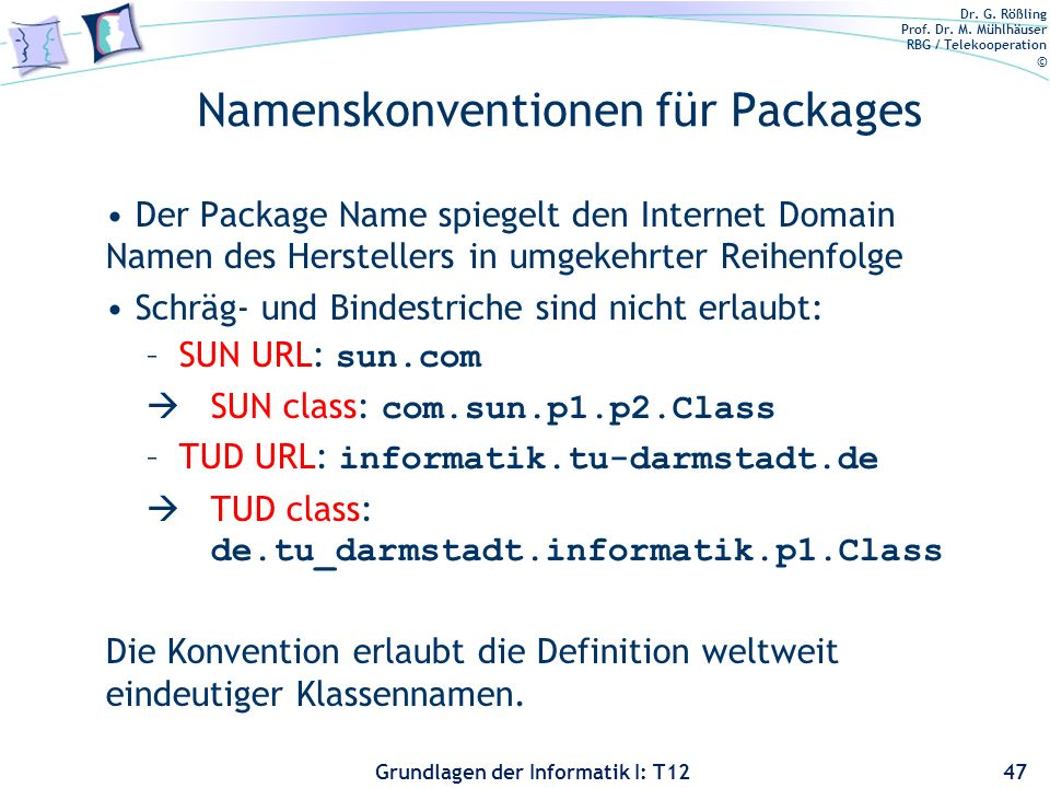 Namenskonventionen für Packages