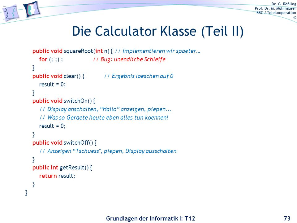 Die Calculator Klasse (Teil II)