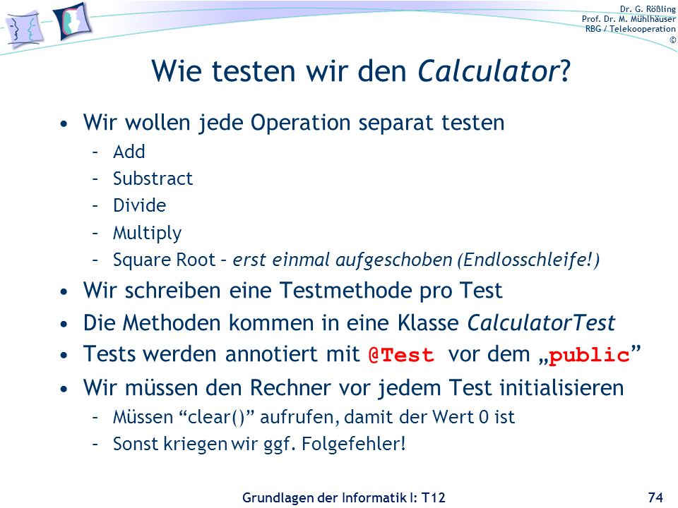 Wie testen wir den Calculator