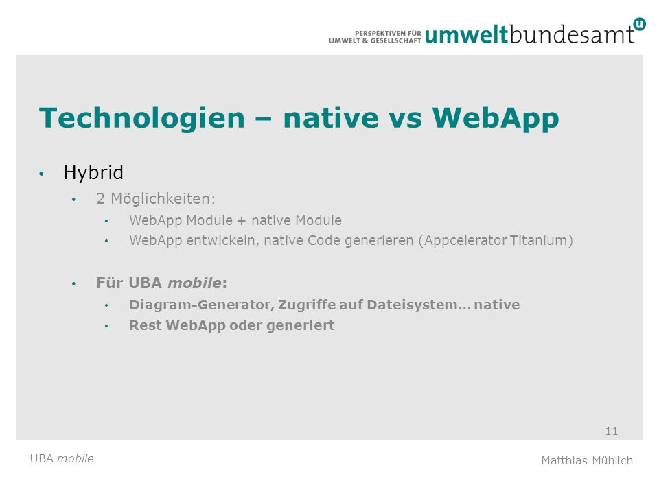 Technologien – native vs WebApp