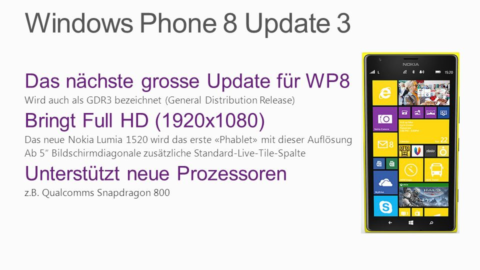 Windows Phone 8 Update 3 Das nächste grosse Update für WP8