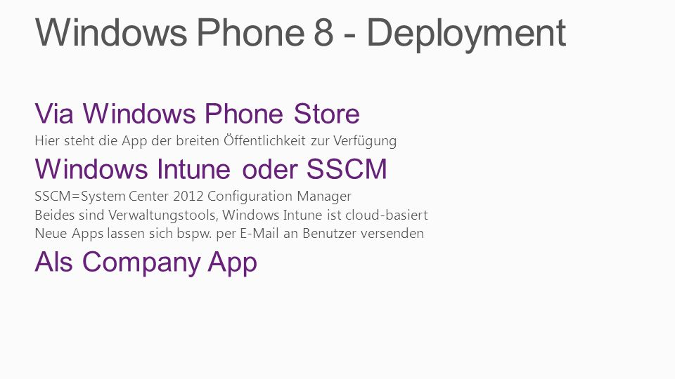 Windows Phone 8 - Deployment