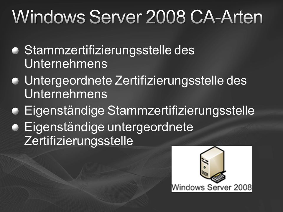Windows Server 2008 CA-Arten