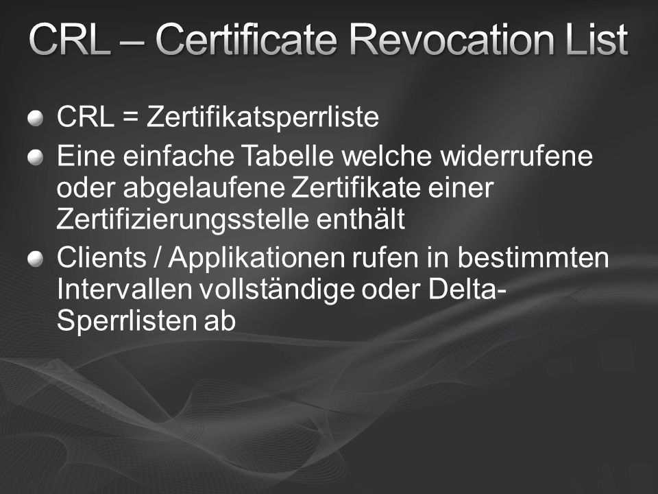 CRL – Certificate Revocation List
