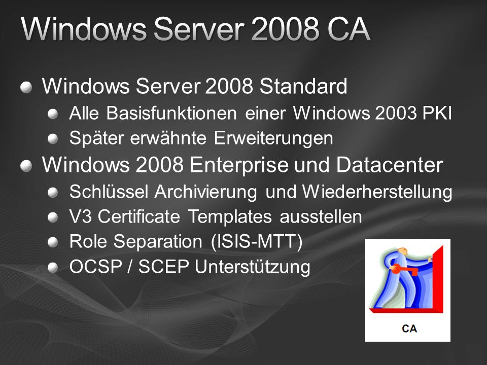 Windows Server 2008 CA Windows Server 2008 Standard