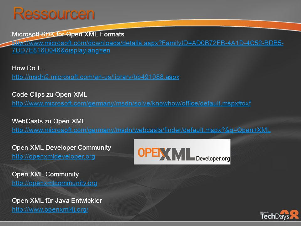Ressourcen Microsoft SDK for Open XML Formats
