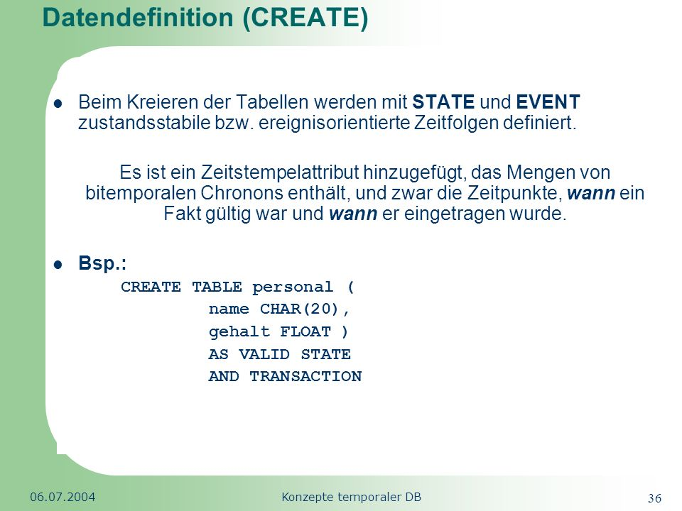 Datendefinition (CREATE)