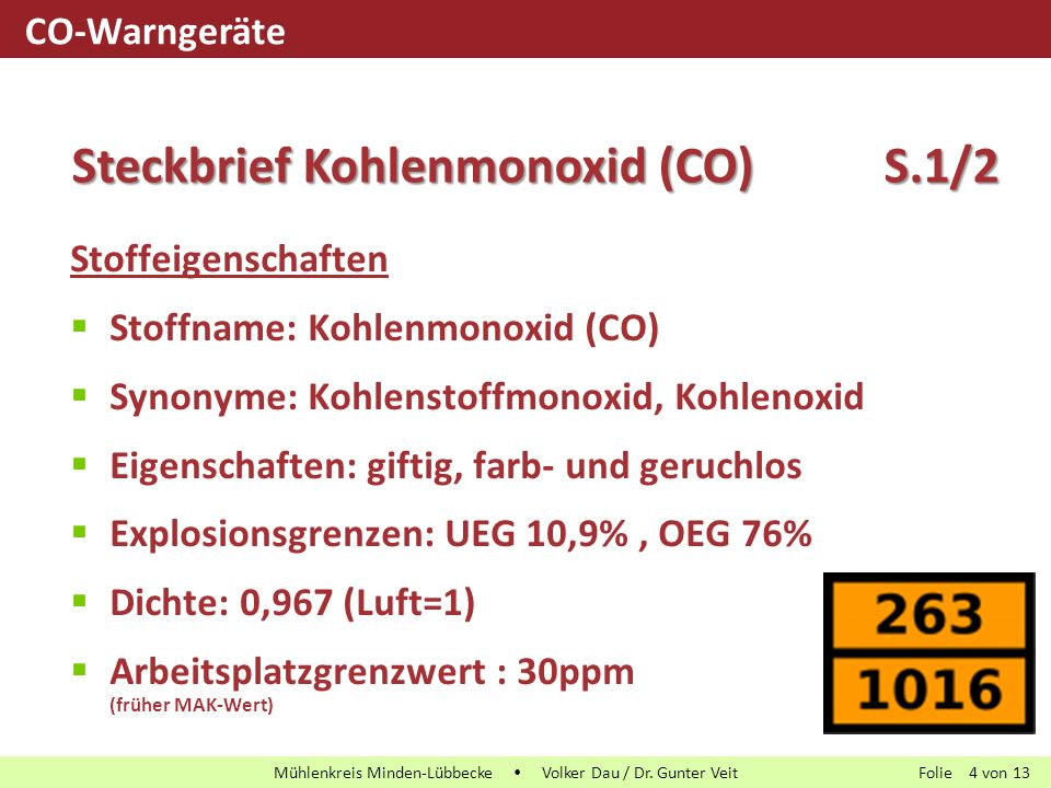 Steckbrief Kohlenmonoxid (CO) S.1/2