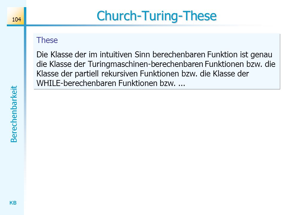 Church-Turing-These These