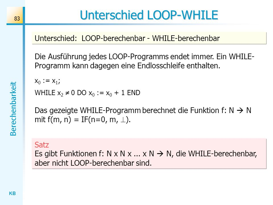Unterschied LOOP-WHILE