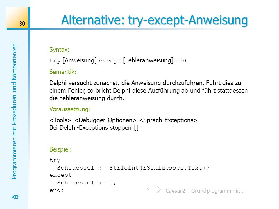 Alternative: try-except-Anweisung