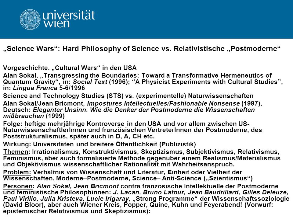 """Science Wars : Hard Philosophy of Science vs"