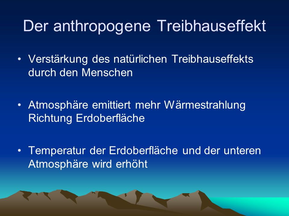 Der anthropogene Treibhauseffekt