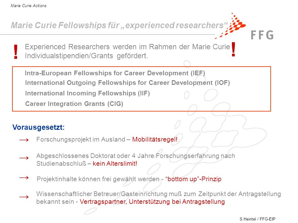 "! ! → → → → Marie Curie Fellowships für ""experienced researchers"