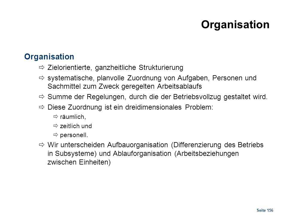 Organisation Organisationslehre
