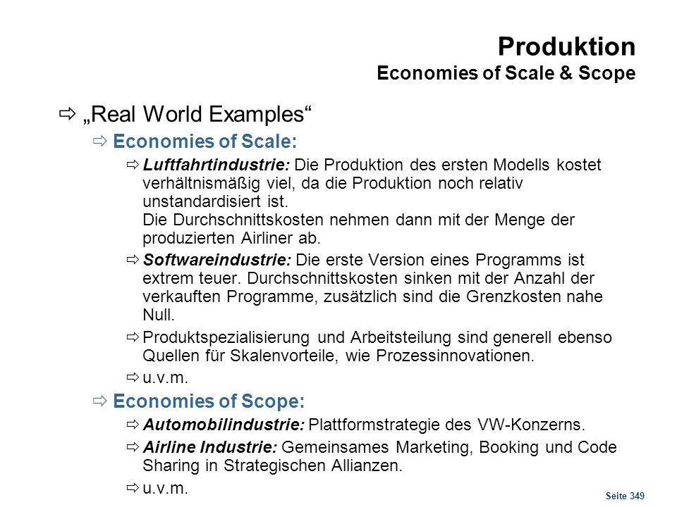 Produktion Economies of Scale