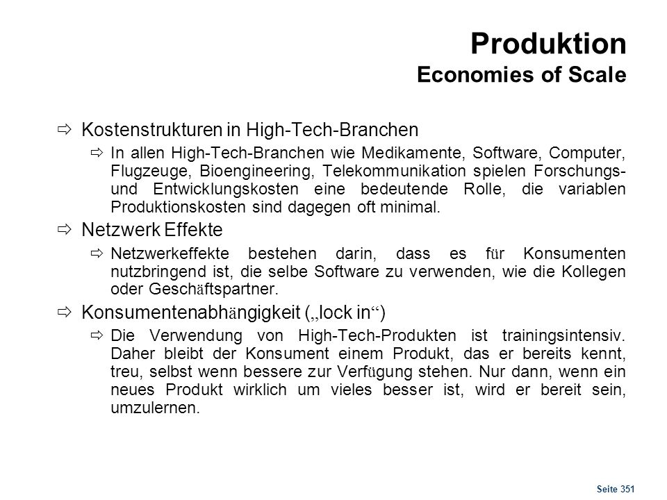 Produktion Economies of Scope
