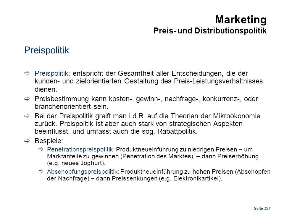 Marketing Preis- und Distributionspolitik