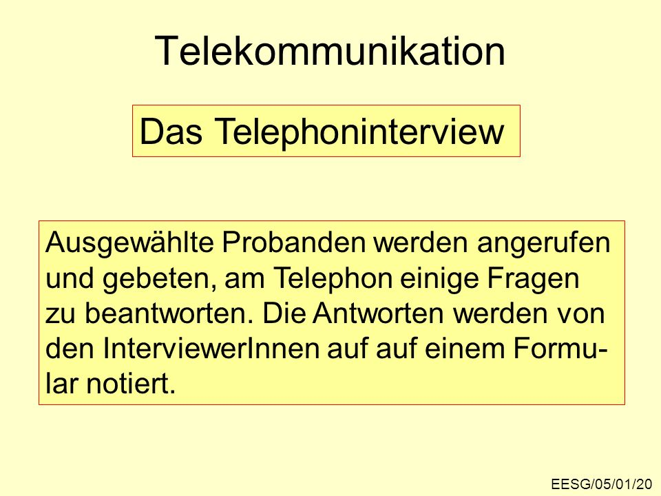Telekommunikation Das Telephoninterview