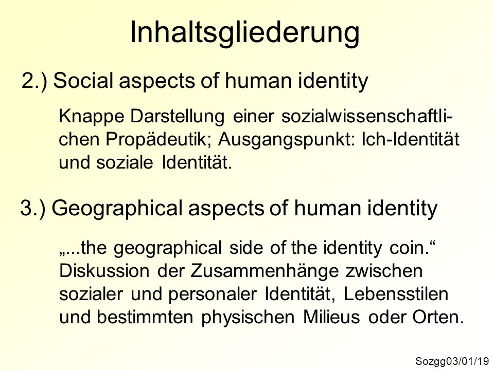 Inhaltsgliederung 2.) Social aspects of human identity