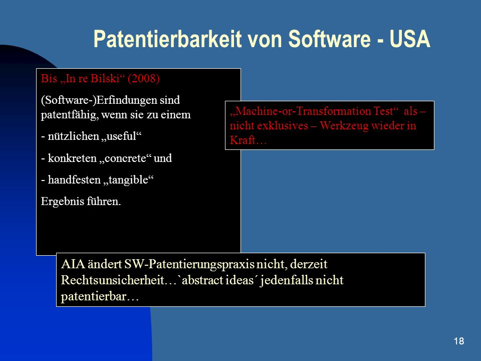 Patentierbarkeit von Software - USA