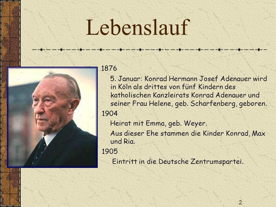 lebenslauf - Konrad Adenauer Lebenslauf