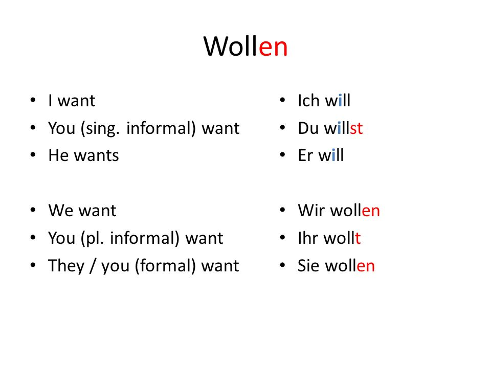 Wollen I want You (sing. informal) want He wants We want