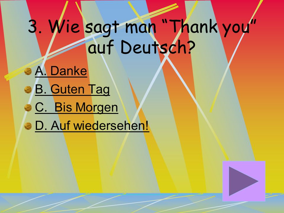 3. Wie sagt man Thank you auf Deutsch