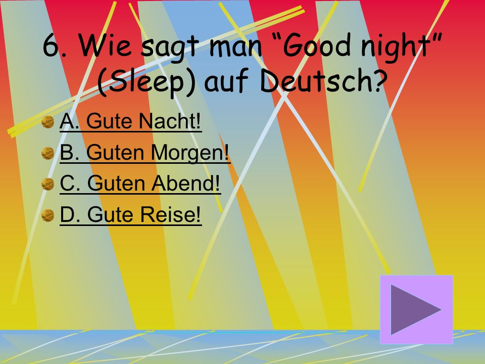 6. Wie sagt man Good night (Sleep) auf Deutsch