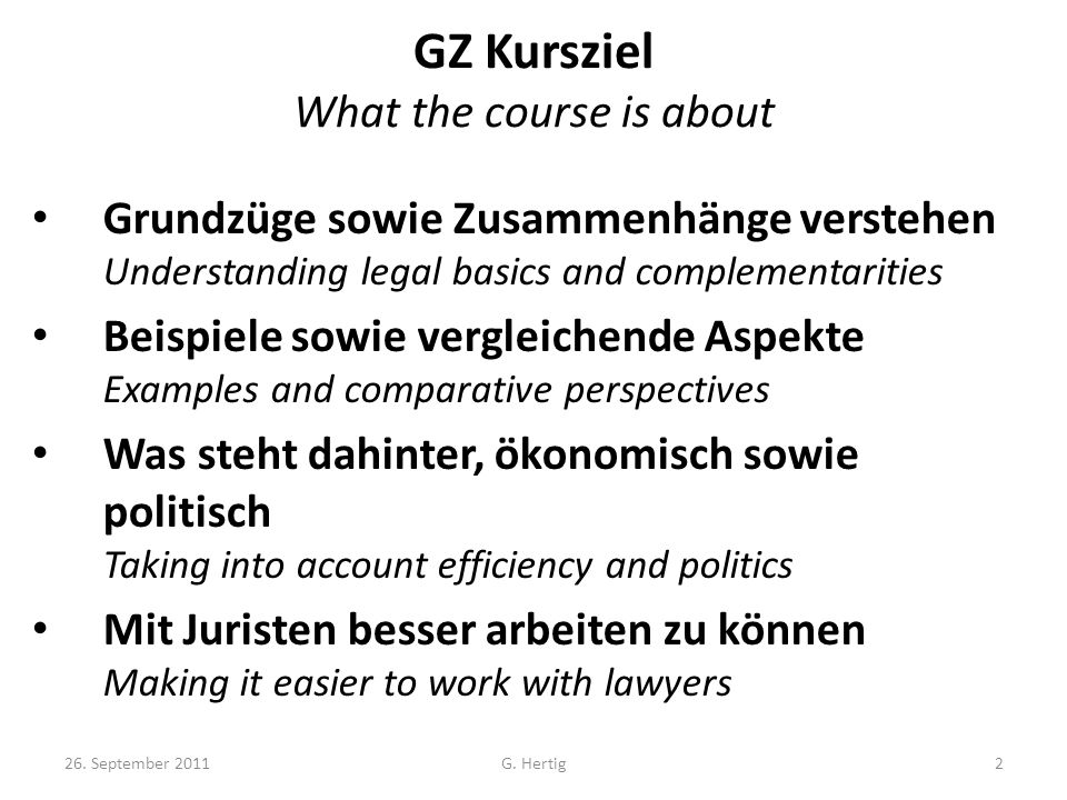 GZ Kursziel What the course is about