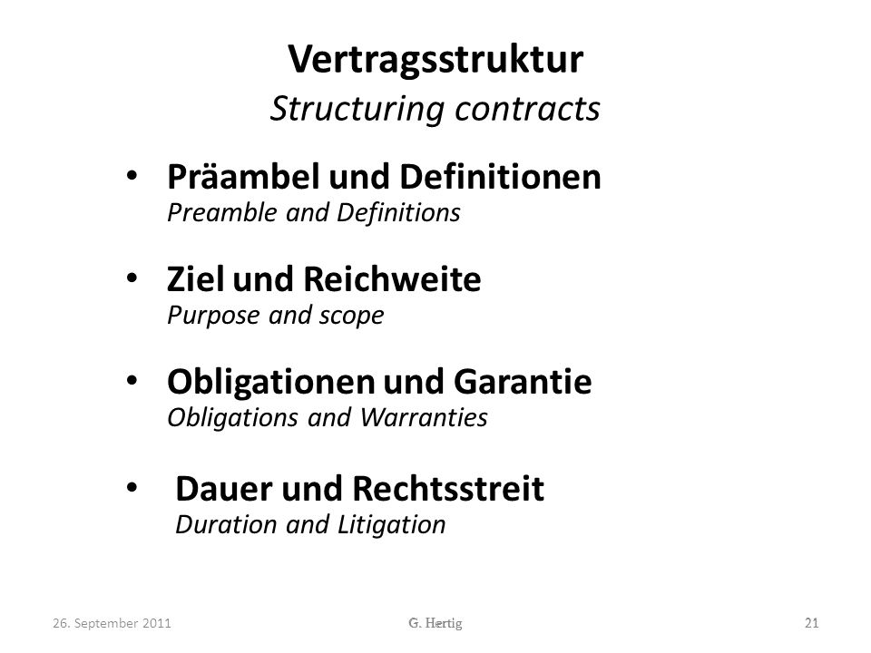 Vertragsstruktur Structuring contracts