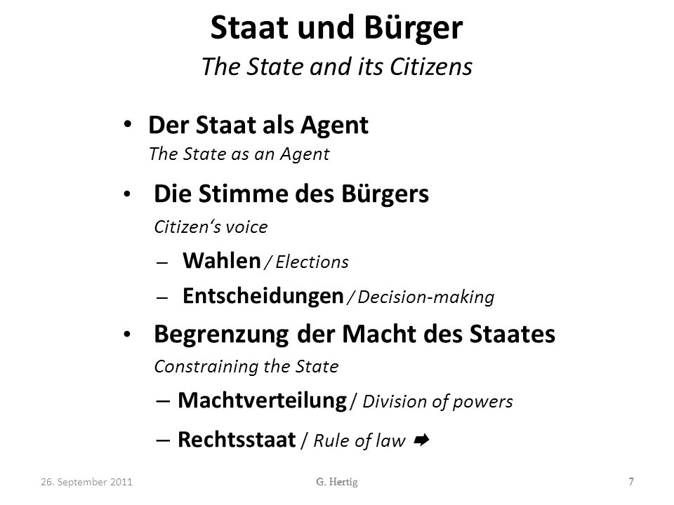 Staat und Bürger The State and its Citizens