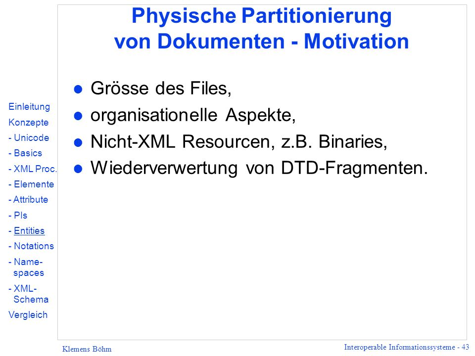 Physische Partitionierung von Dokumenten - Motivation