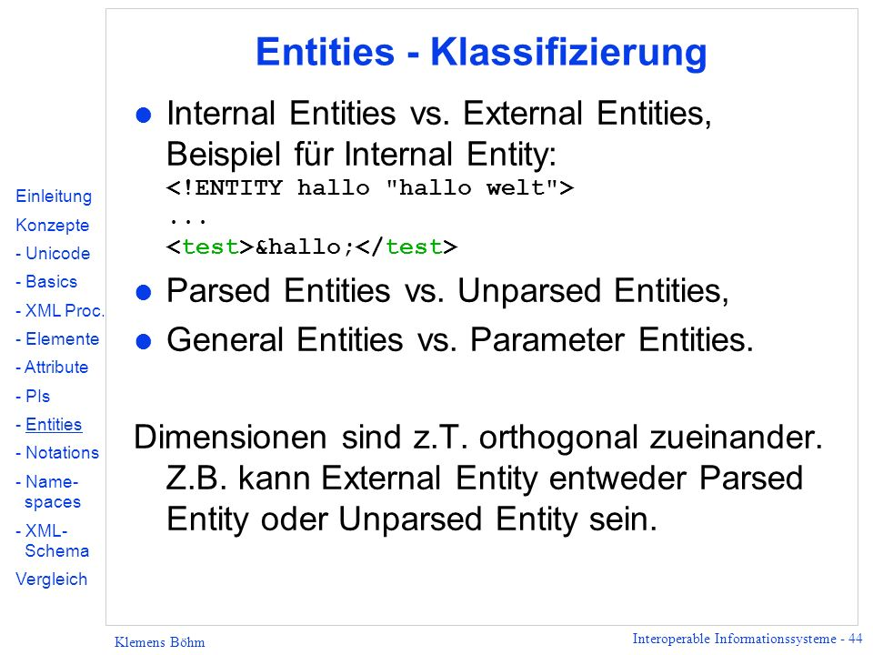 Entities - Klassifizierung