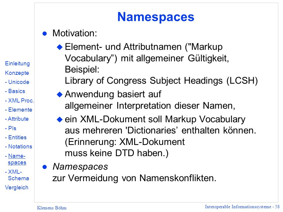 Namespaces Motivation: