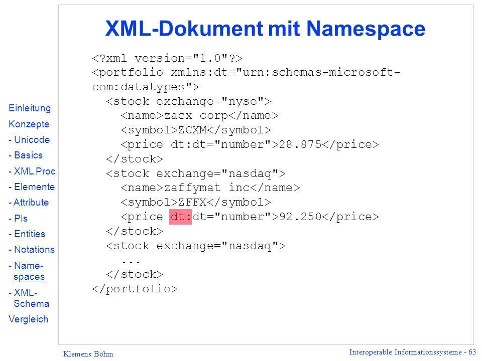 XML-Dokument mit Namespace
