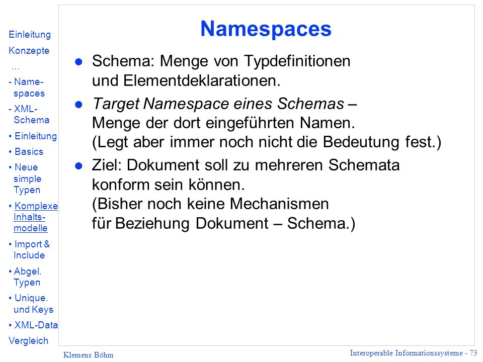 Namespaces Schema: Menge von Typdefinitionen und Elementdeklarationen.