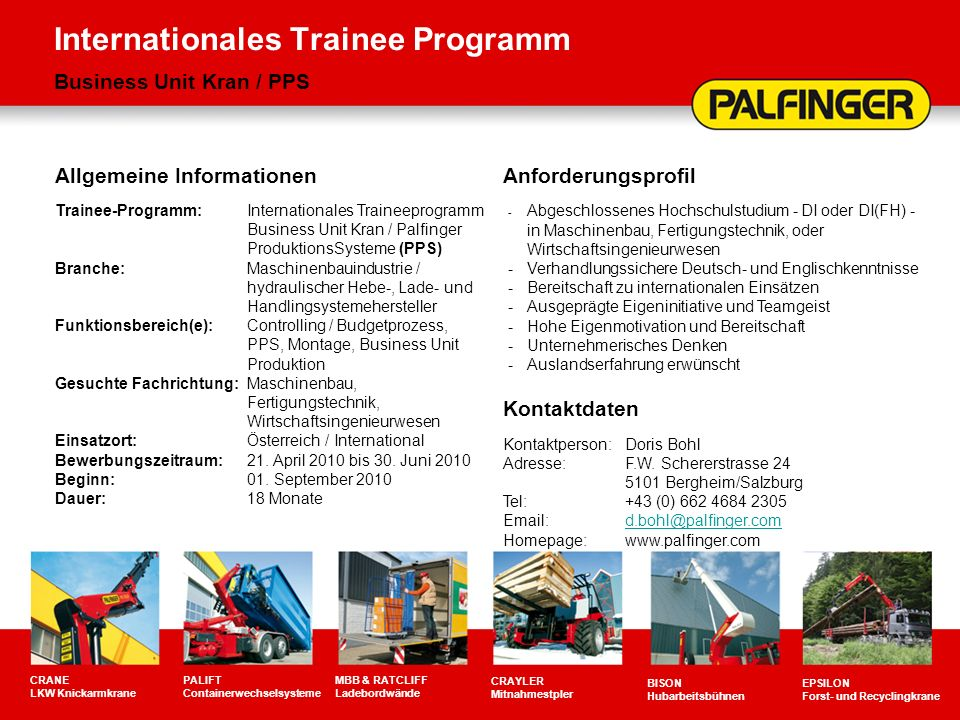 Internationales Trainee Programm Business Unit Kran / PPS