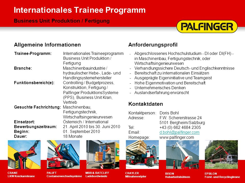 Internationales Trainee Programm Business Unit Produktion / Fertigung