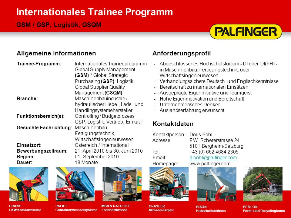 Internationales Trainee Programm GSM / GSP, Logistik, GSQM