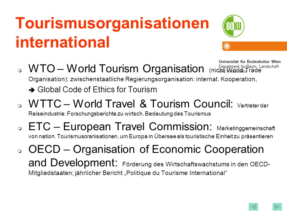 Tourismusorganisationen international