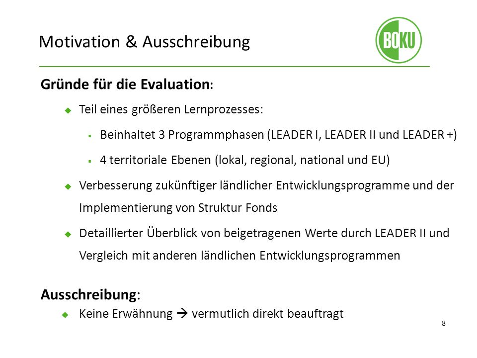 Motivation & Ausschreibung