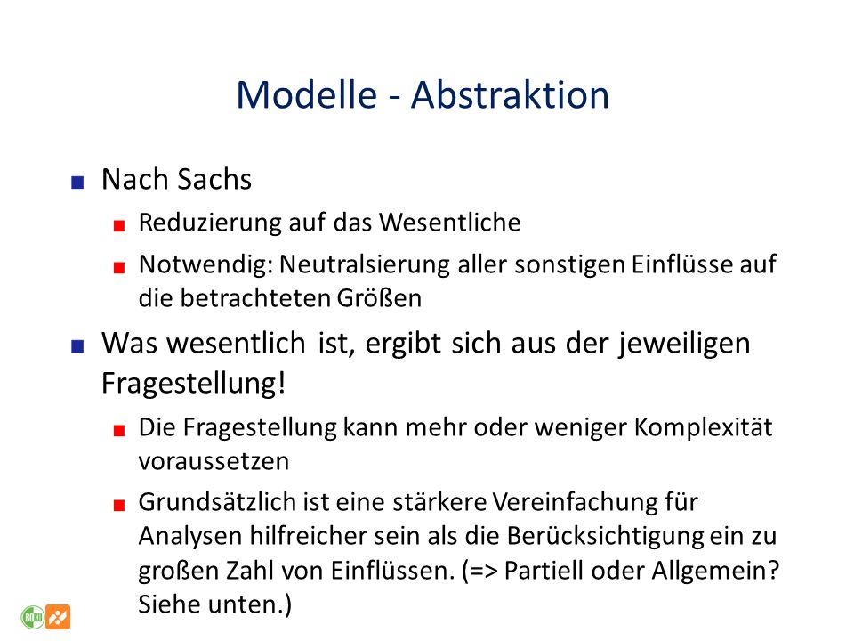 Modelle - Abstraktion Nach Sachs