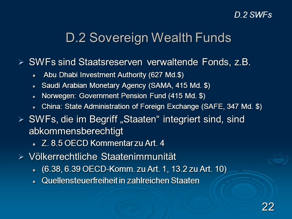 D.2 Sovereign Wealth Funds