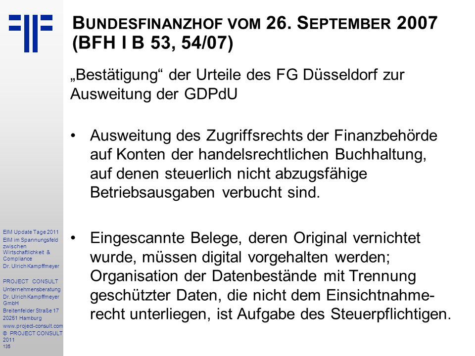 Bundesfinanzhof vom 26. September 2007 (BFH I B 53, 54/07)